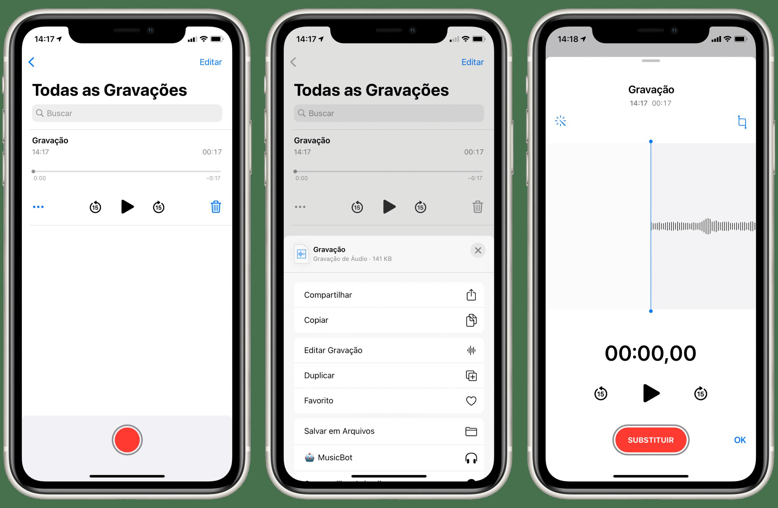 Configurações do app Gravador no iOS 14