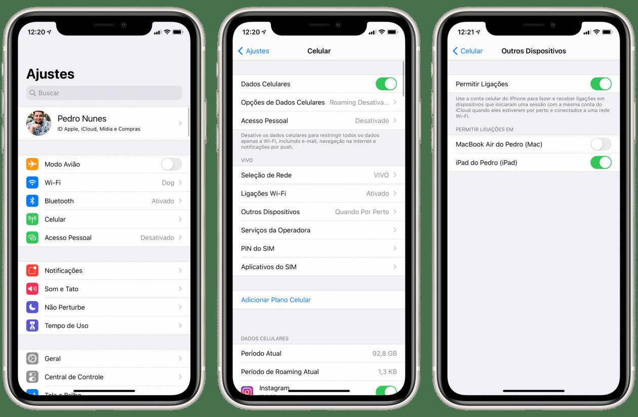 Ligação de outros dispositivos no iOS 14