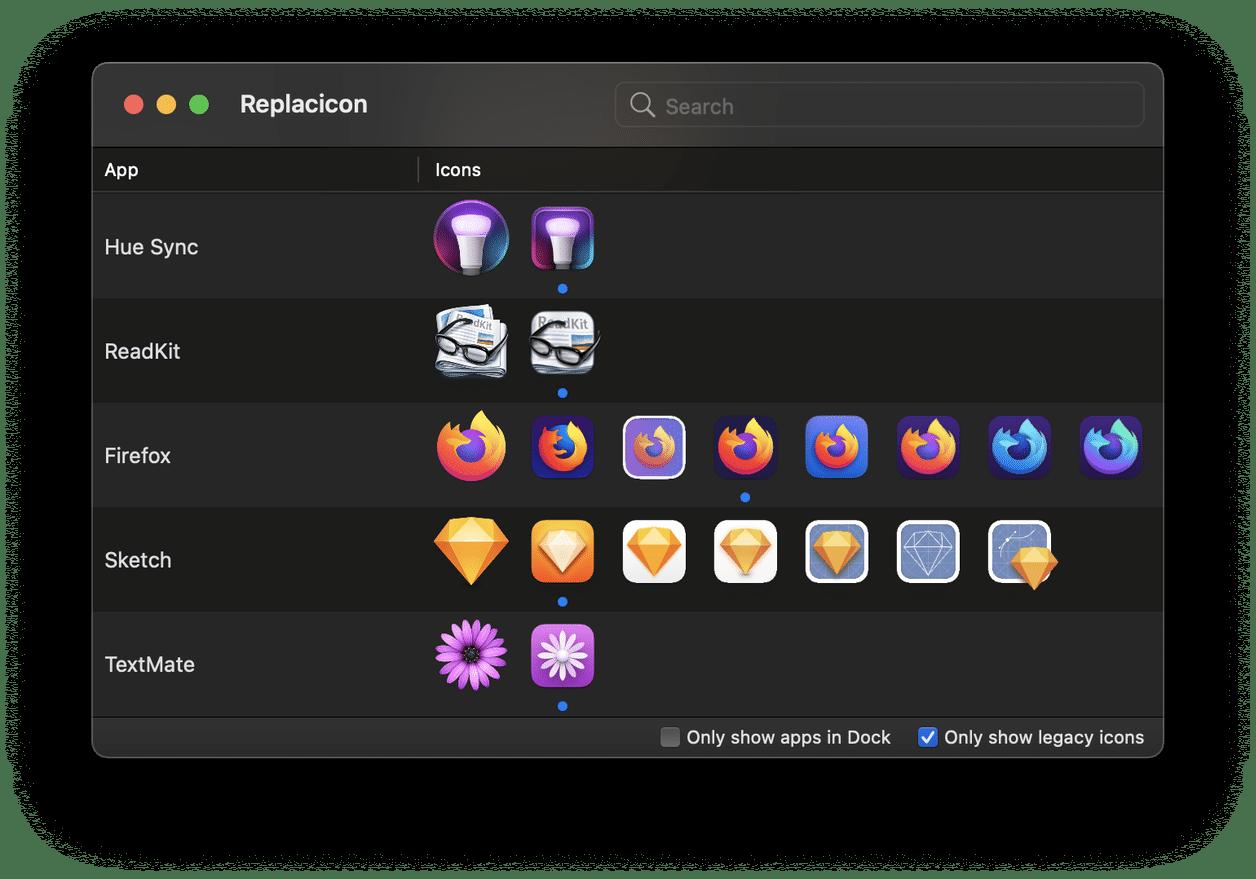 Replacicon, app para macOS