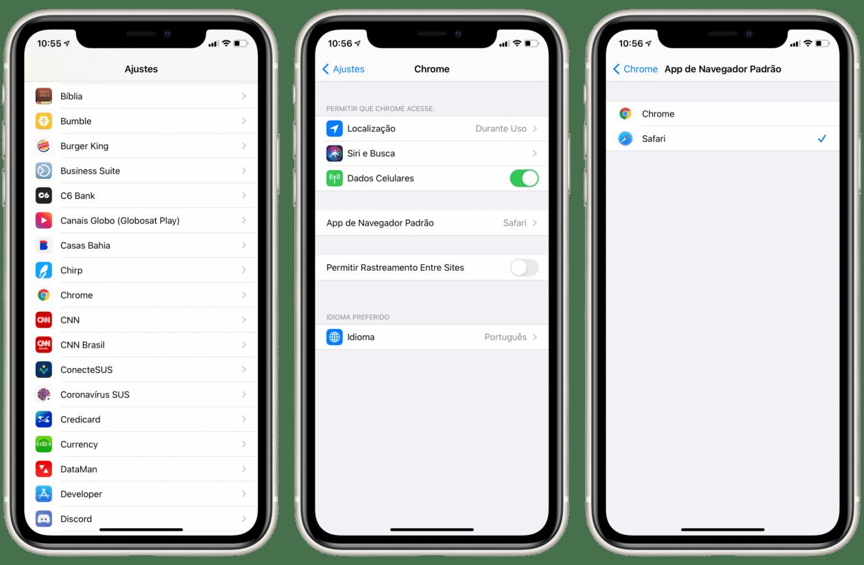 Mudando o app padrão de navegador no iOS 14