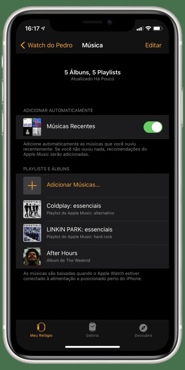 Tela de ajustes de músicas, no app Watch
