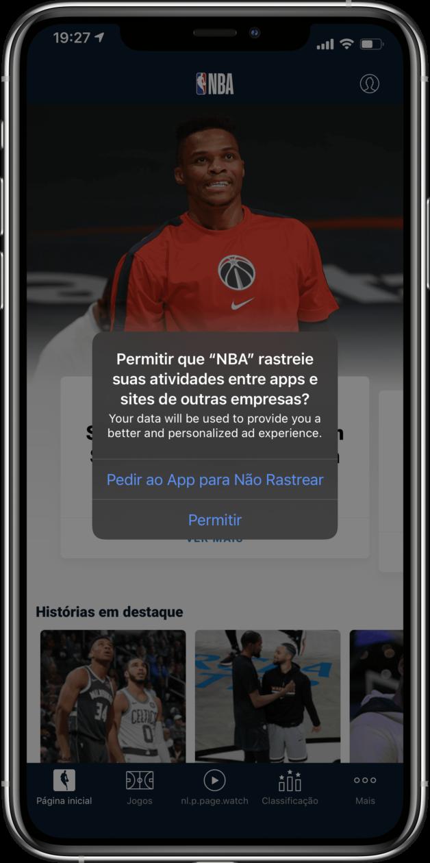 Caixa de diálogo com mudanças de privacidade do iOS 14