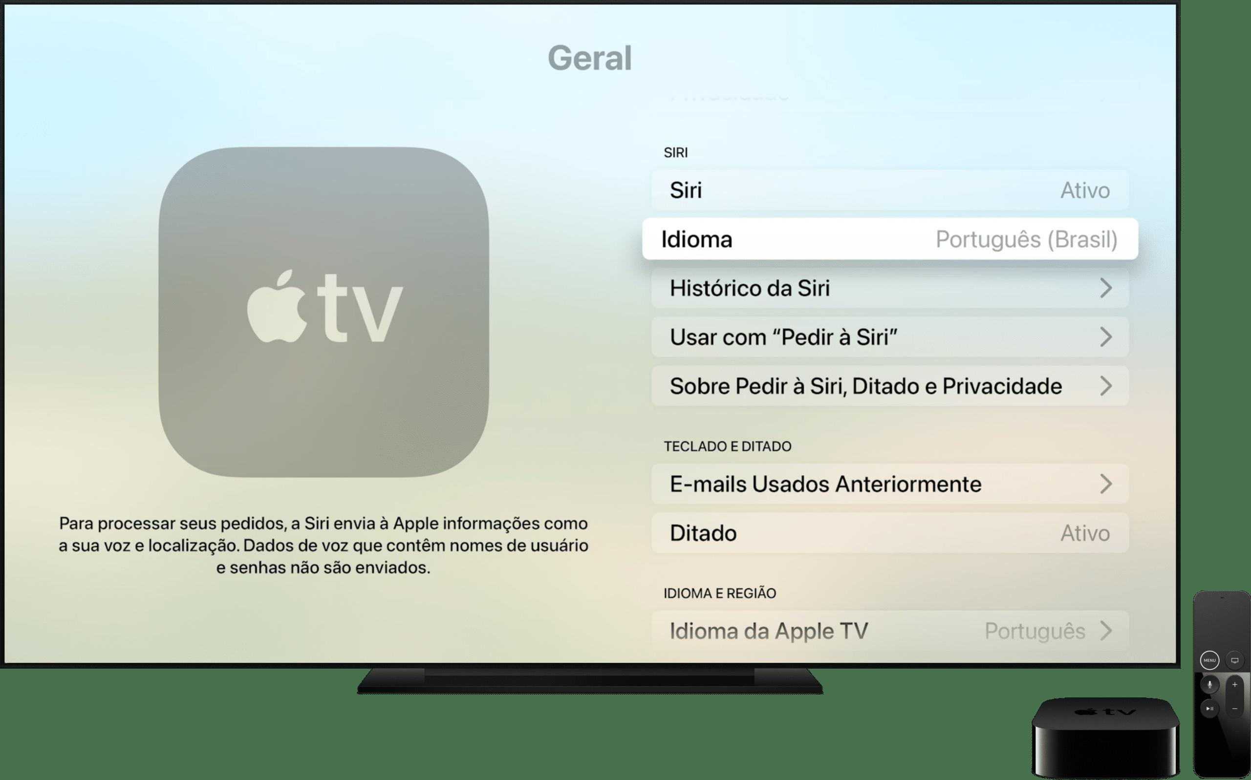 Configurando o idioma da Siri no tvOS