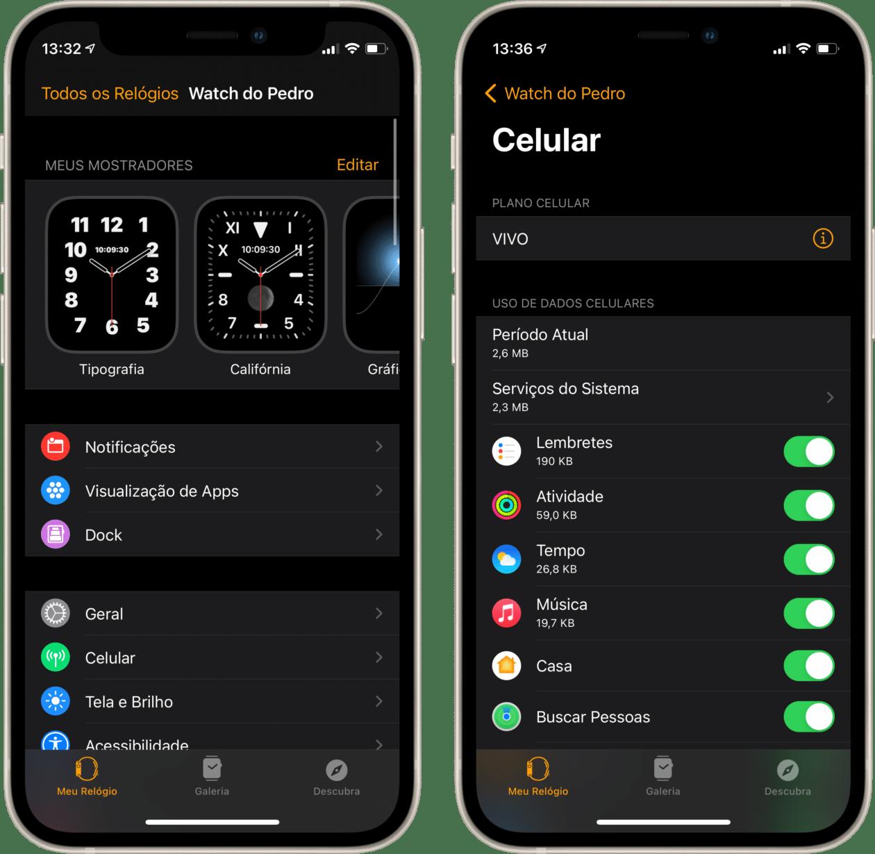 Ativando a rede celular no Apple Watch