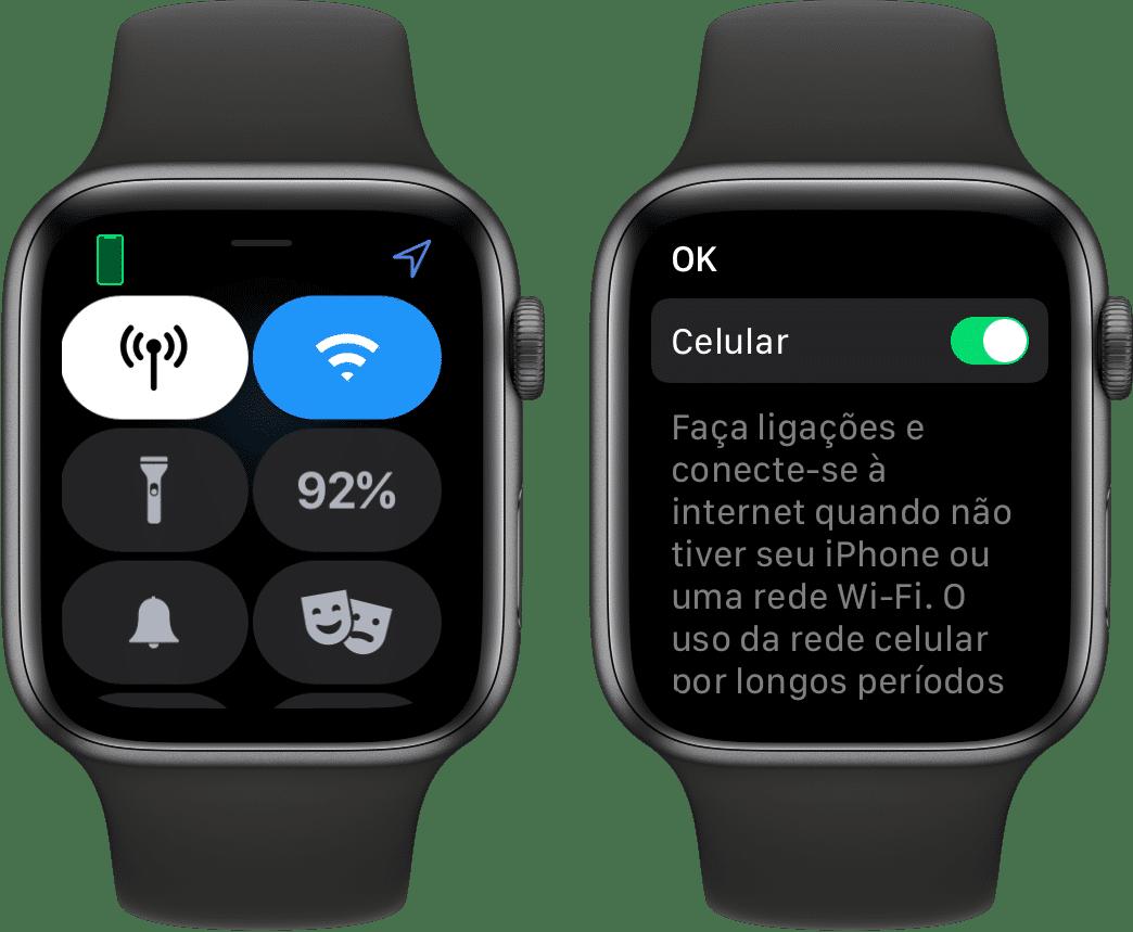 Desativando a rede celular no Apple Watch