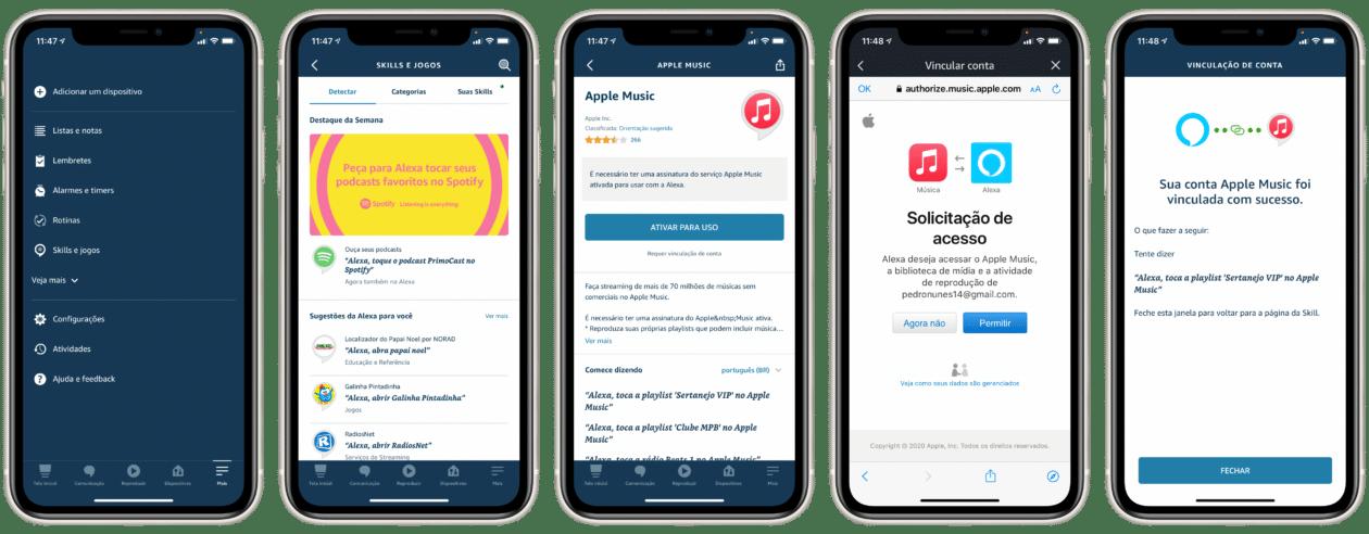 Ativando o Apple Music no app Alexa