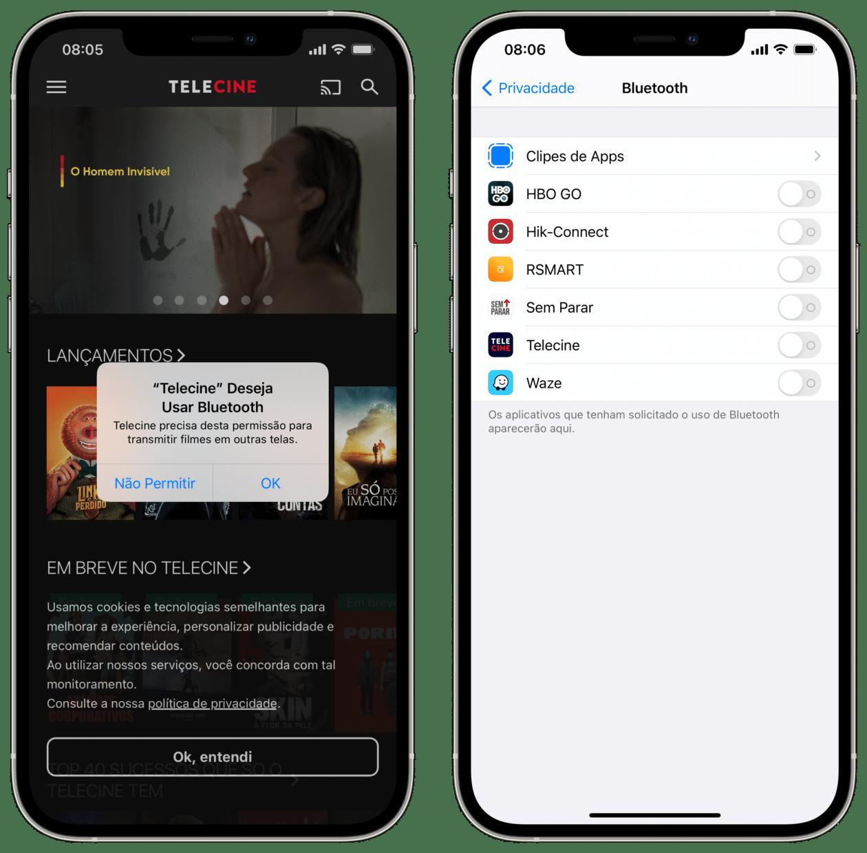 App solicitando permissão para usar o Bluetooth