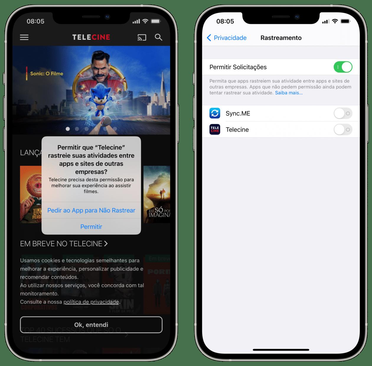 App solicitando permissão para rastrear