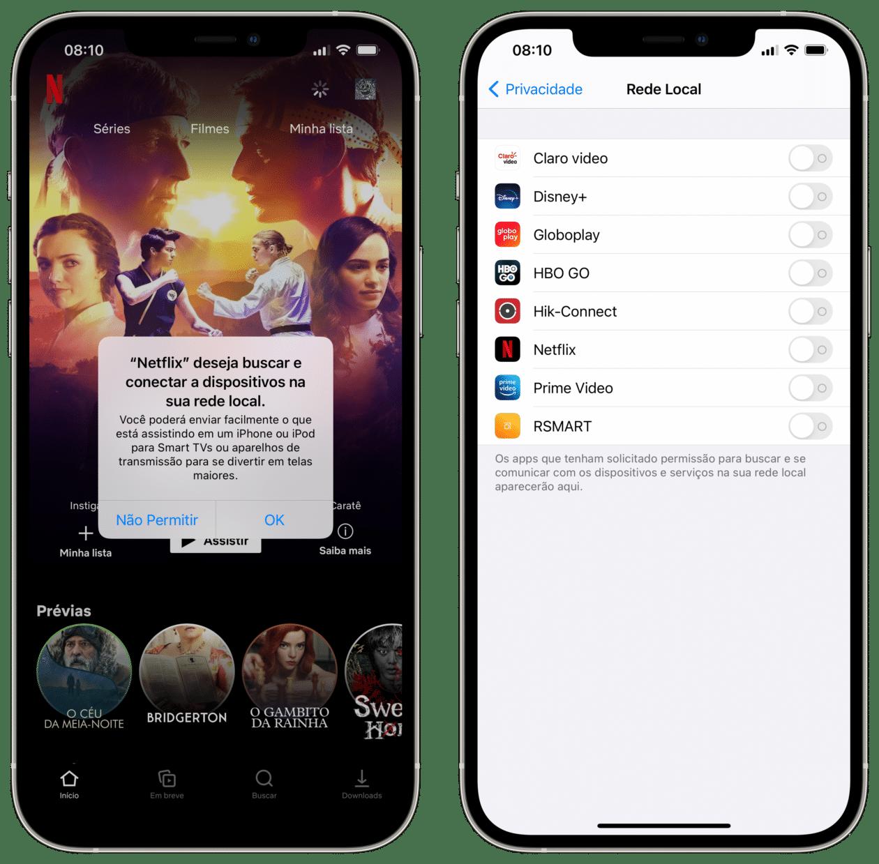 App solicitando permissão para acessar a rede local.