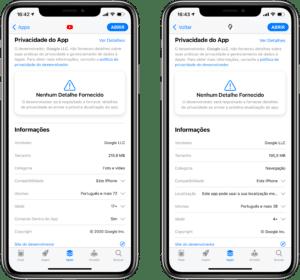 Aviso de privacidade nos apps do Google