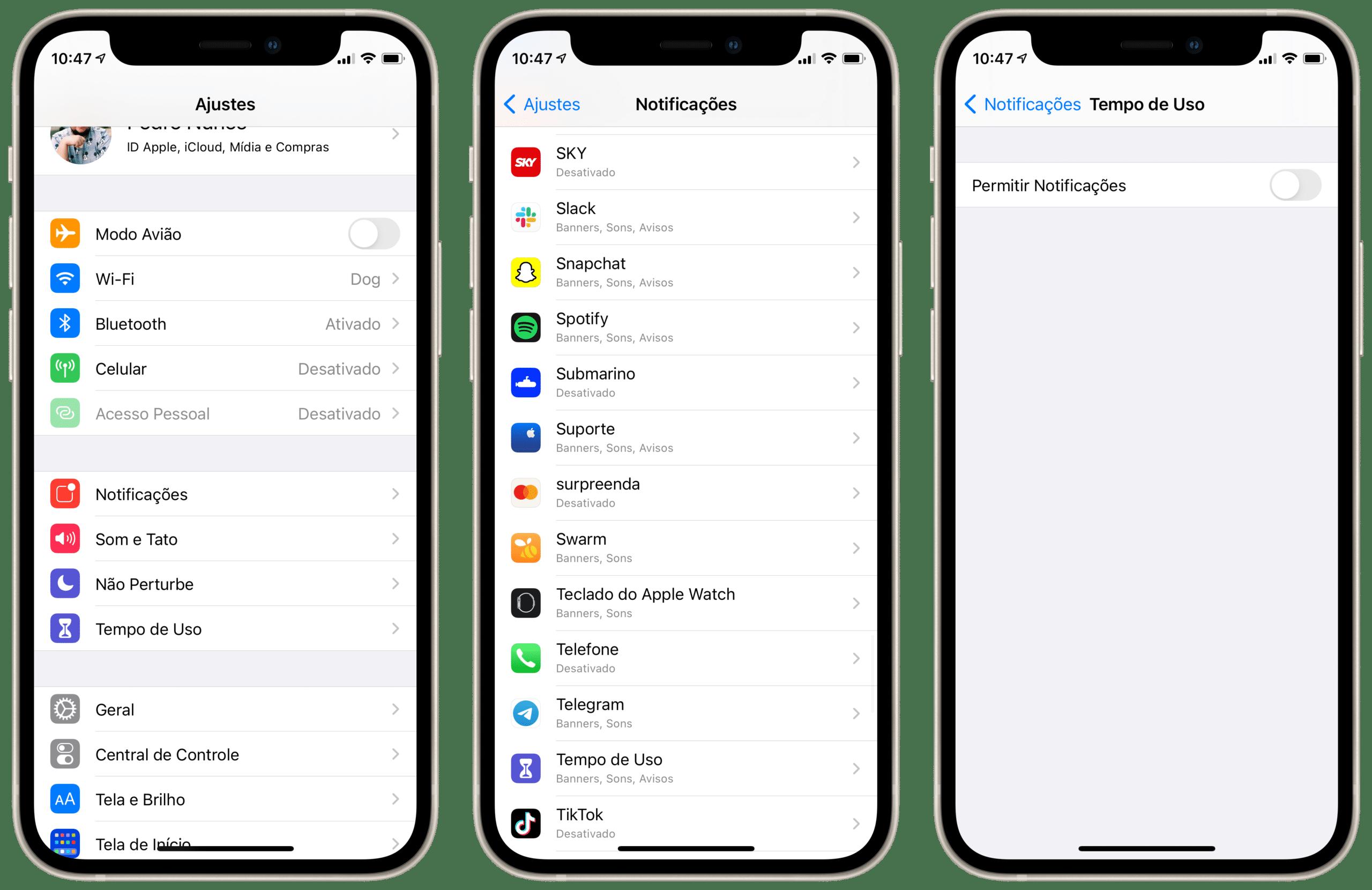 Notificações de Tempo de Uso no iOS