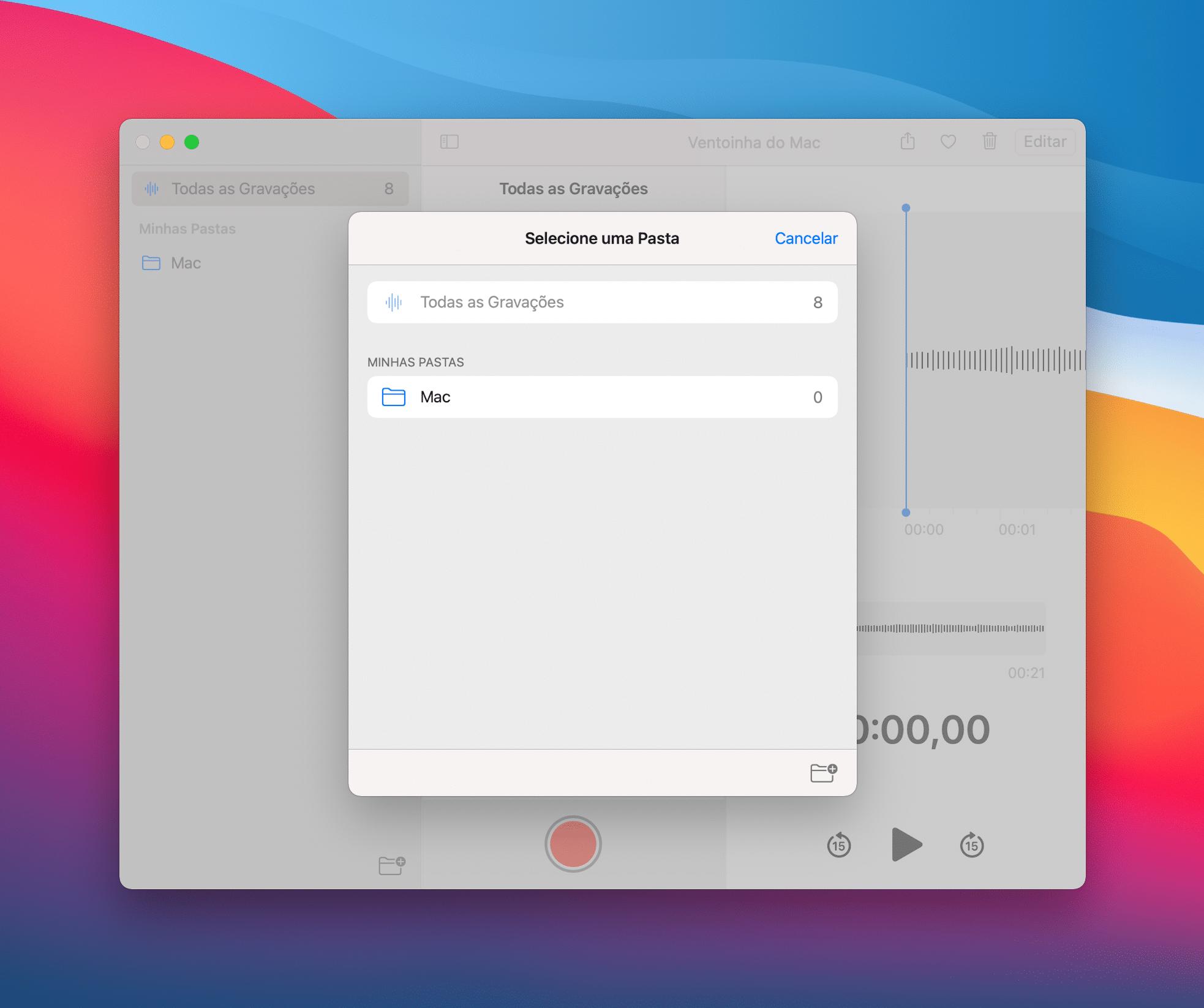 Organizando gravações no macOS