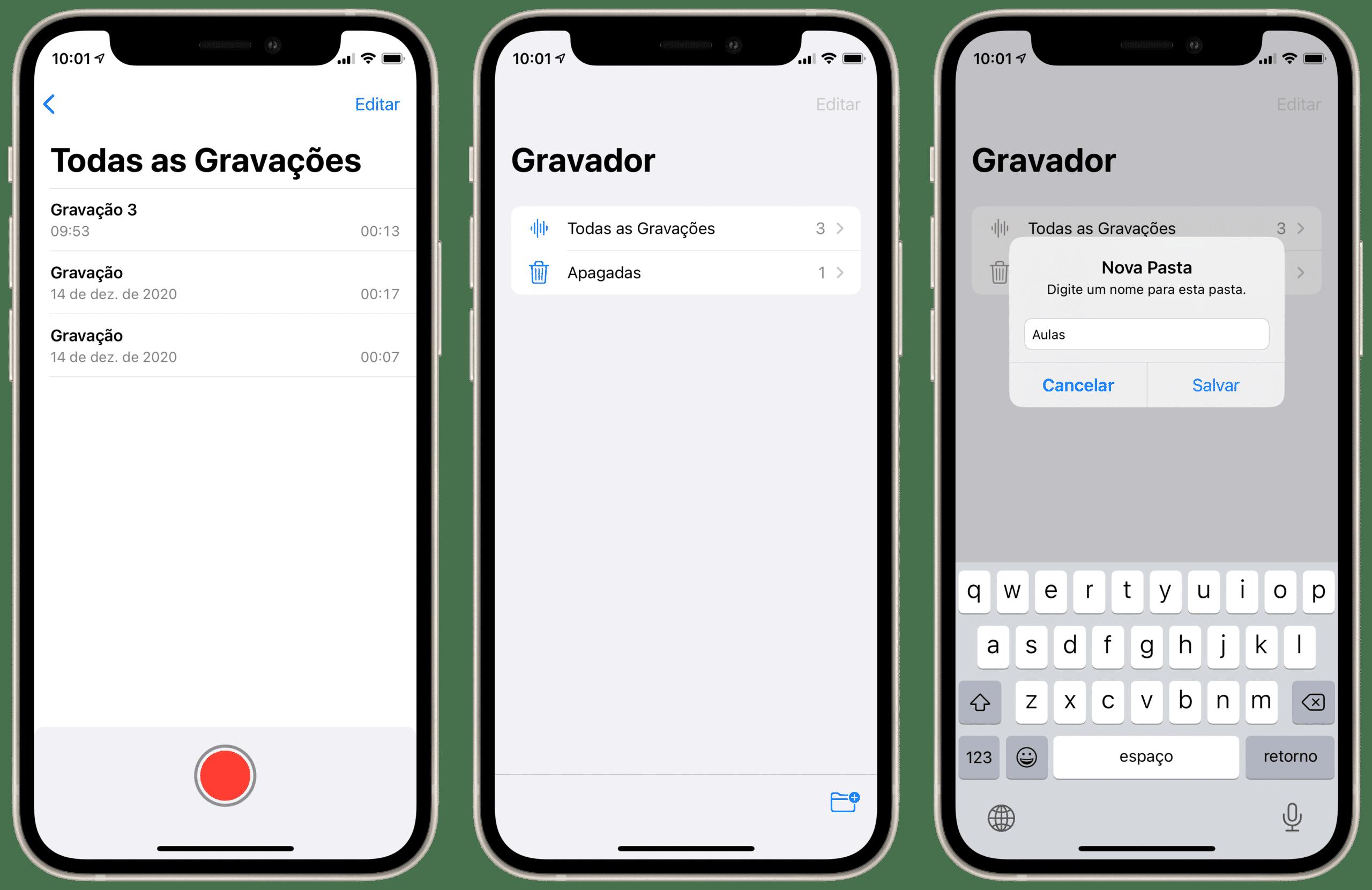 Organizando gravações no iOS