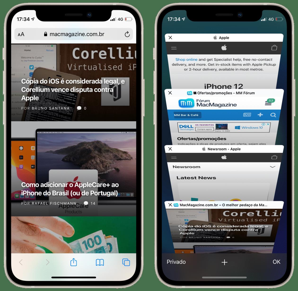 Nova aba no Safari do iOS