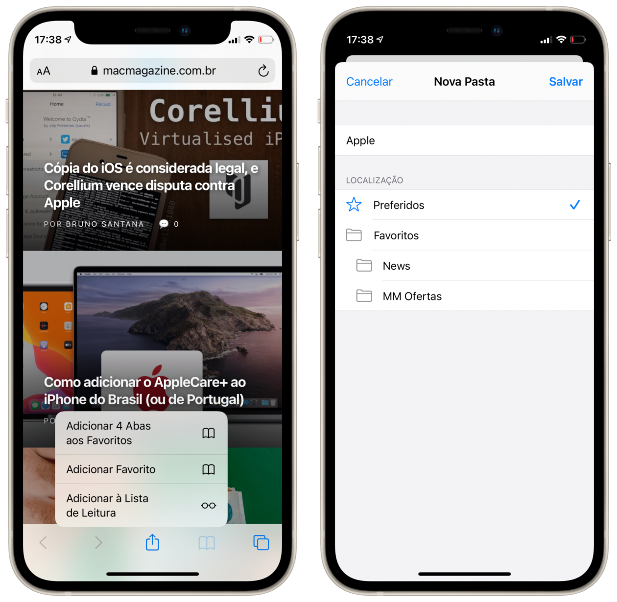 Adicionando múltiplas abas aos favoritos do Safari no iPhone