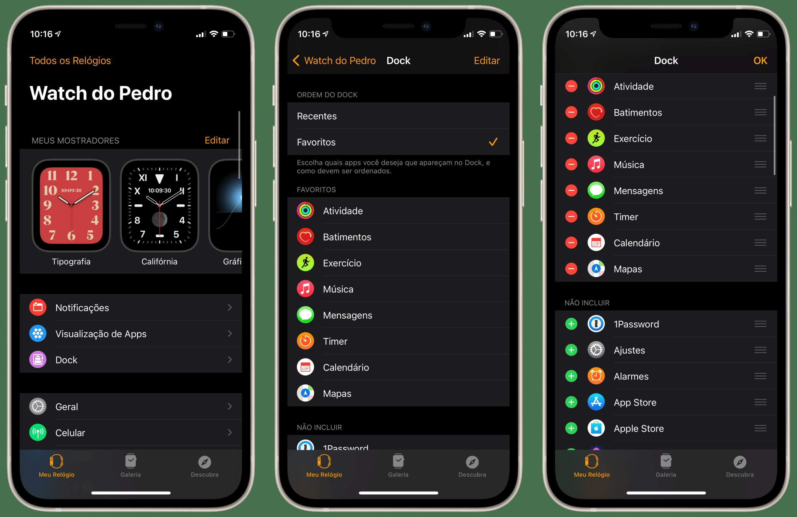 Configurações do Dock do Apple Watch