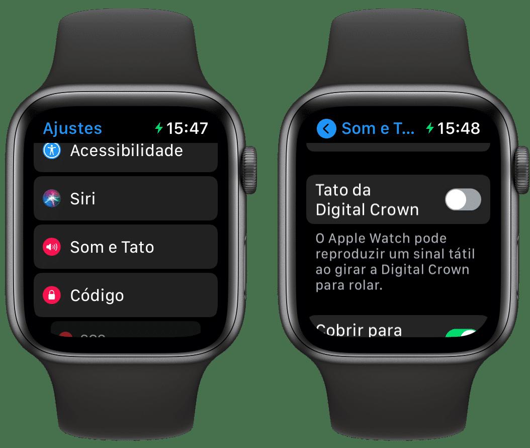 Ajustes de Sons e Tato no Apple Watch