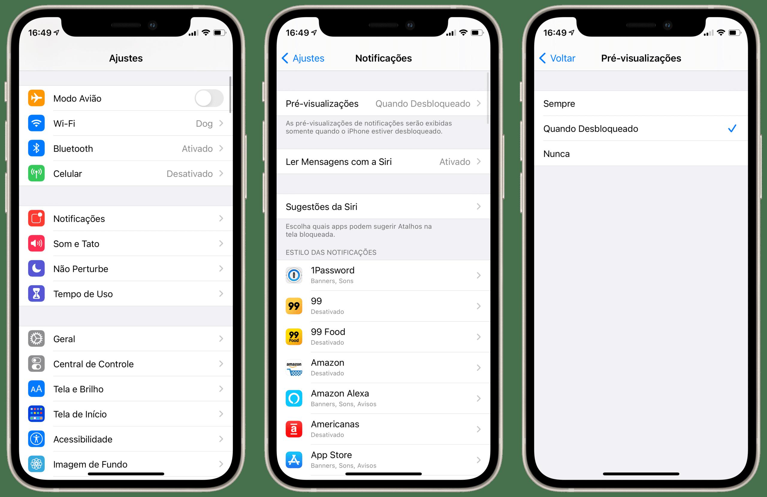 Ajustes de notificações no iPhone