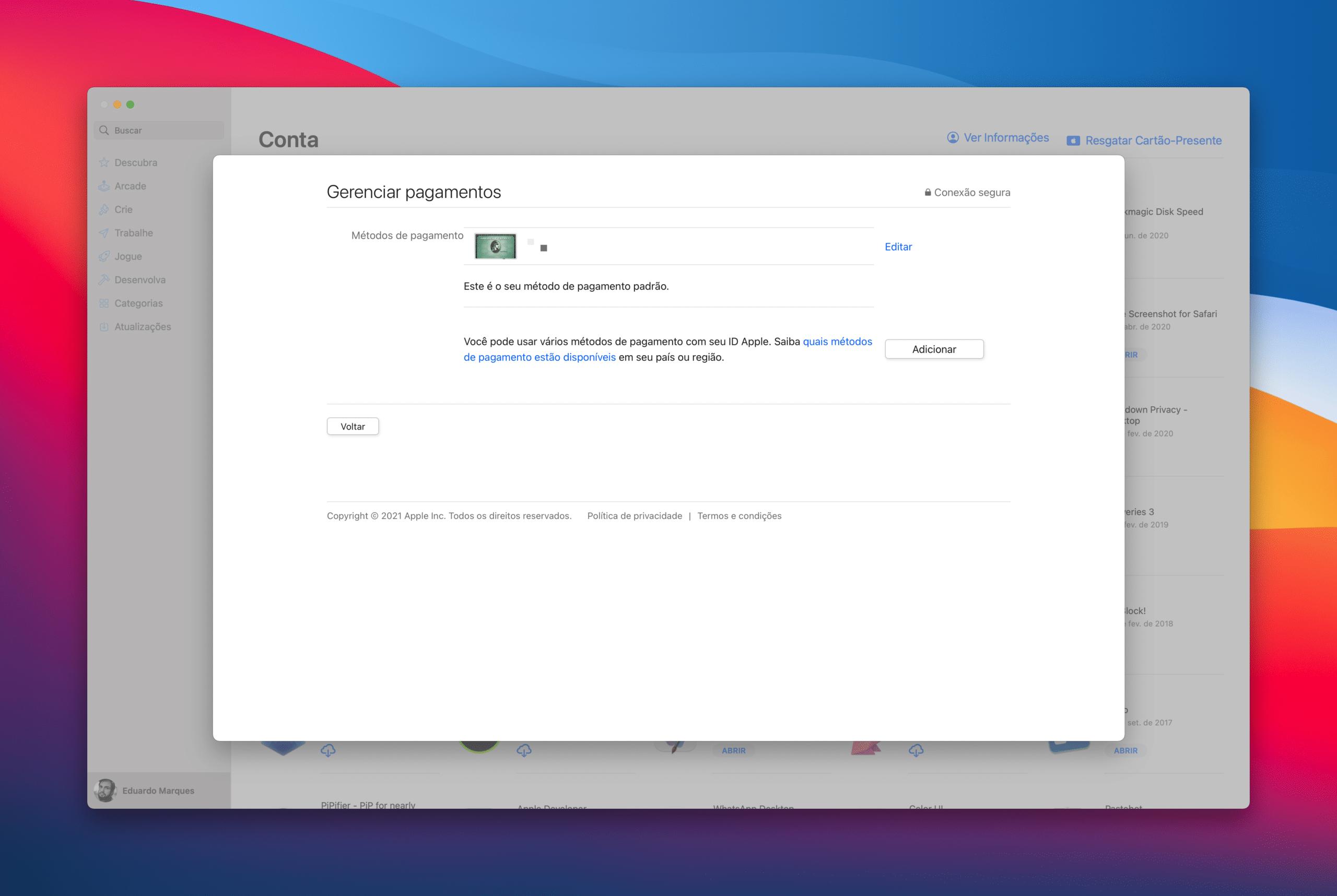 Alterando a forma de pagamento do ID Apple