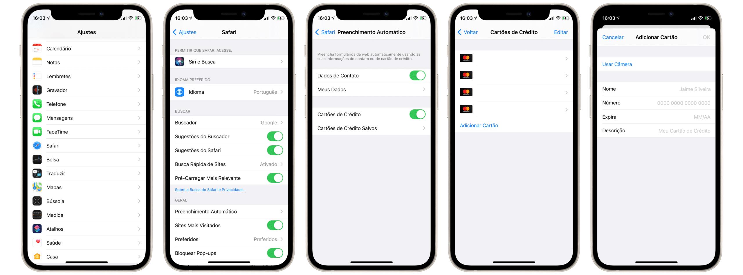 Salvando dados do cartão de crédito para o preenchimento automático no Safari do iOS