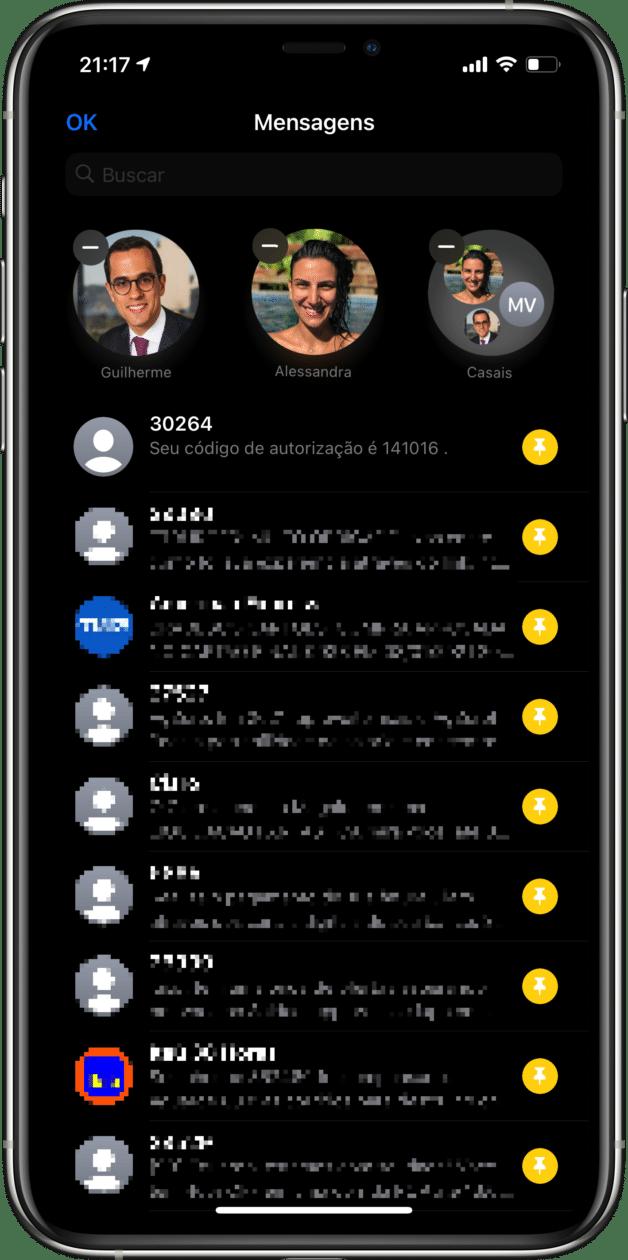Fixando mensagens no iPhone