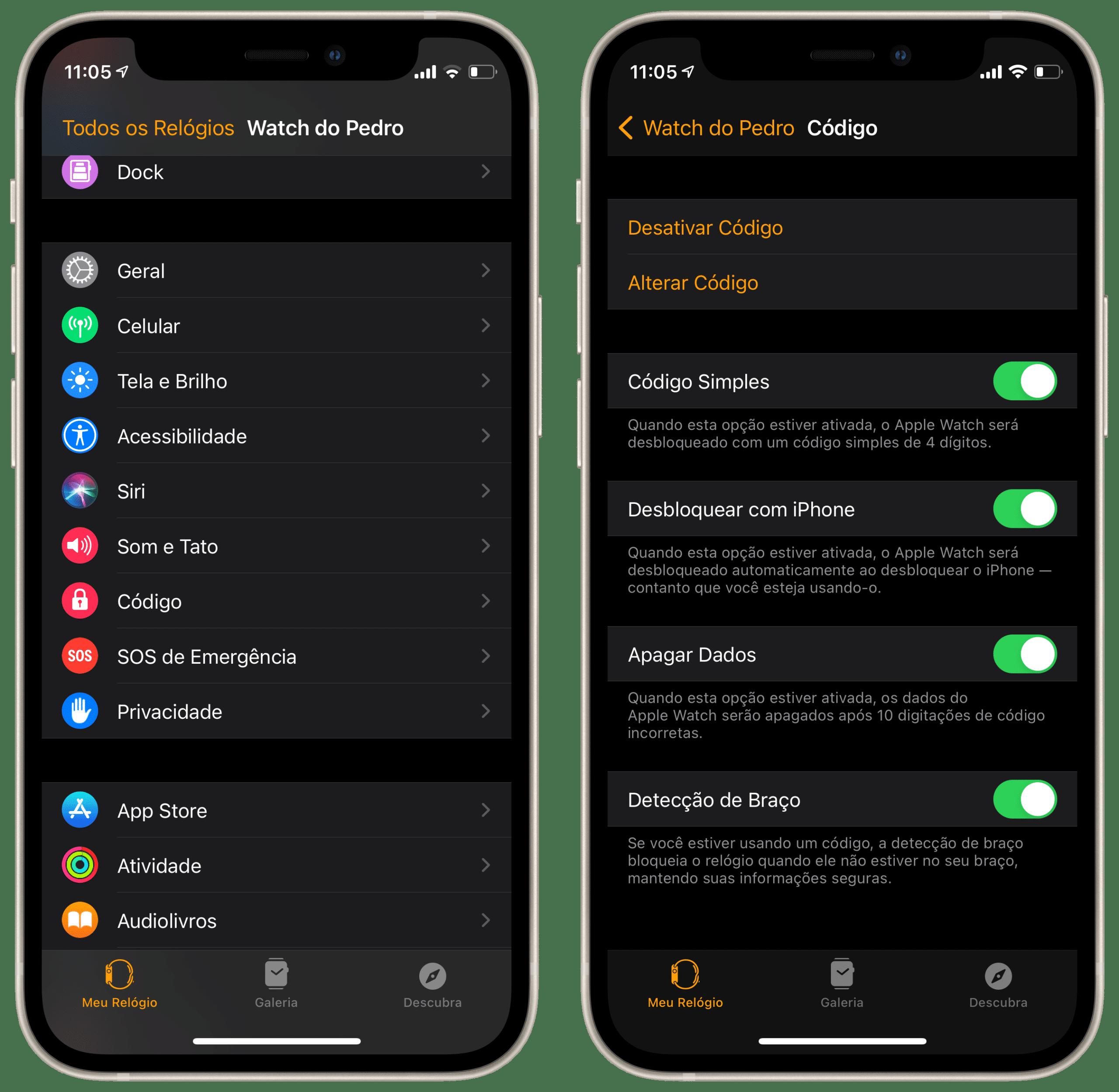 Desbloqueando o Apple Watch com o iPhone
