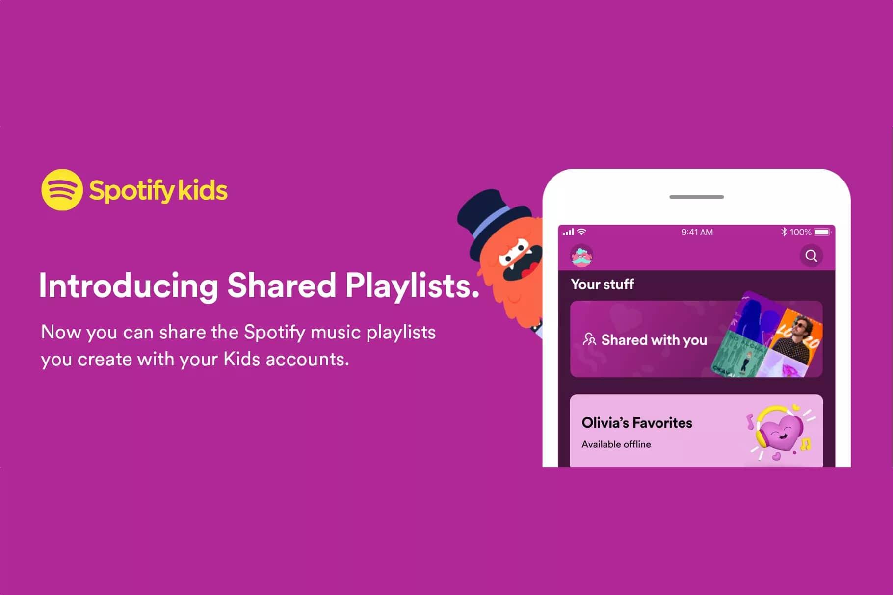 Playlists compartilhadas no Spotify Kids