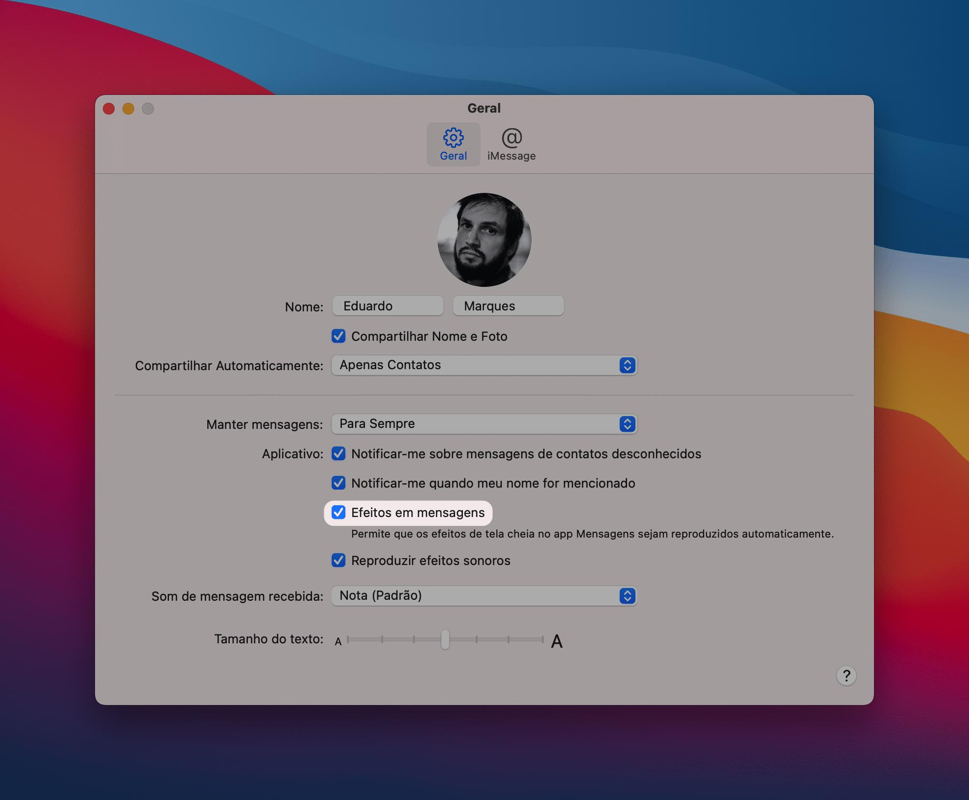 Desabilitando os efeitos de mensagens no Mac