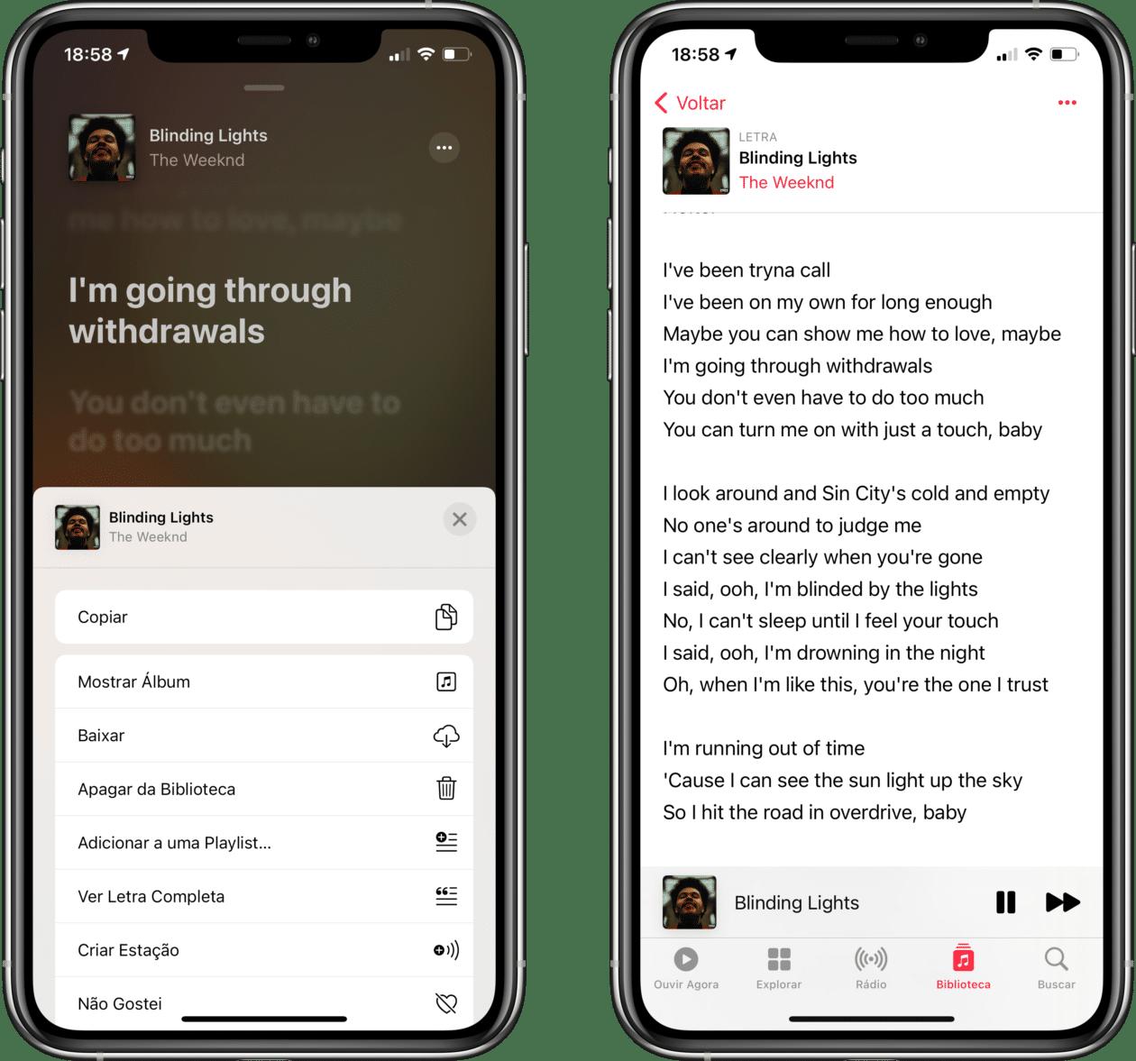 Letras sincronizadas no iPhone
