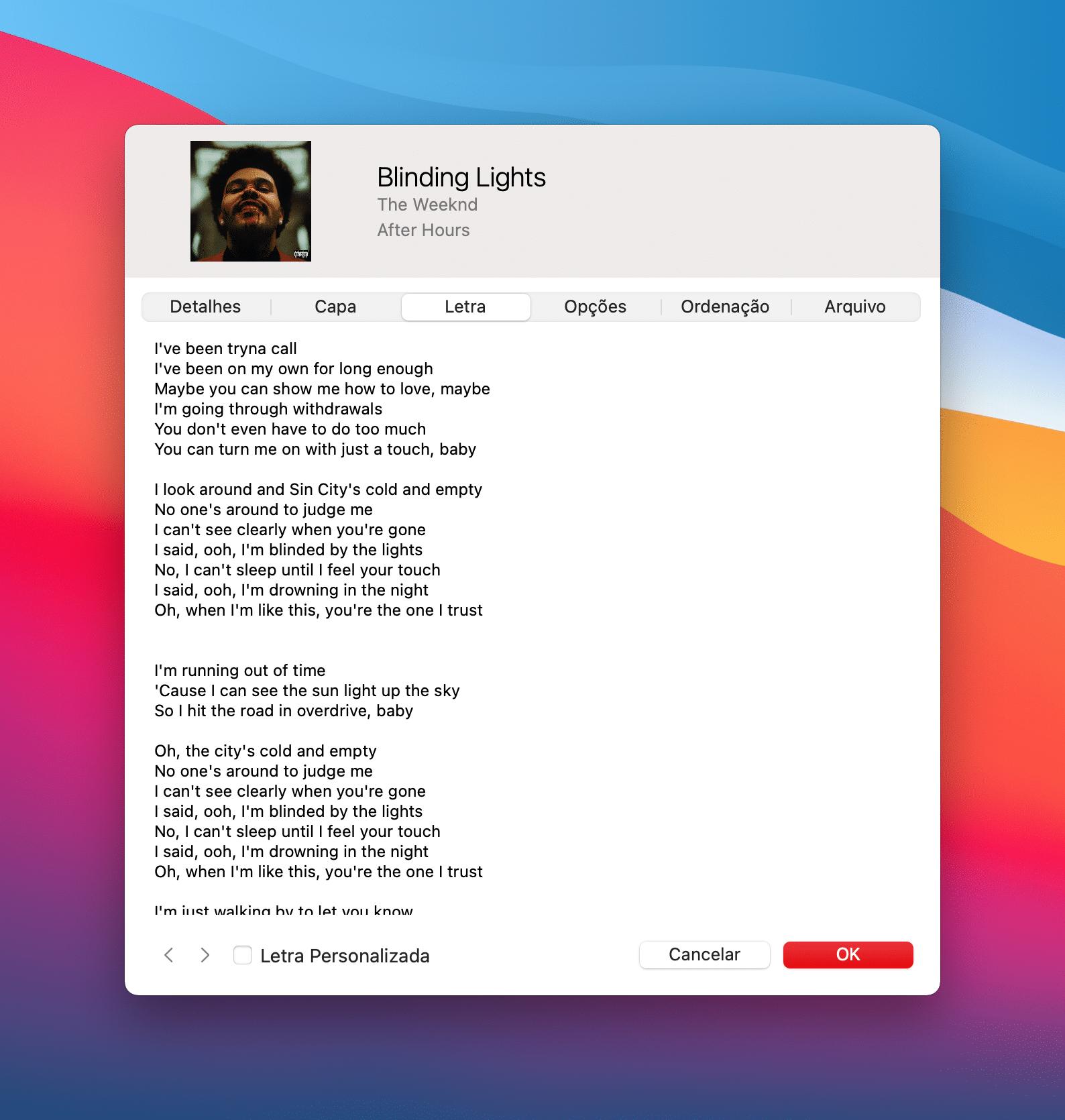 Letras sincronizadas no Mac
