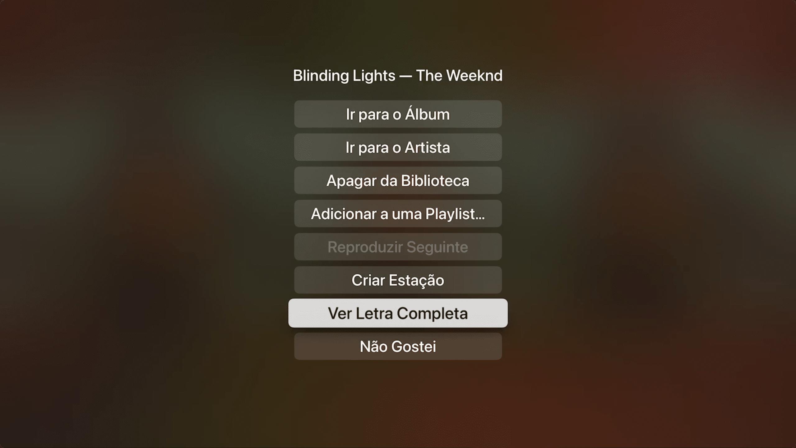 Letras sincronizadas na Apple TV