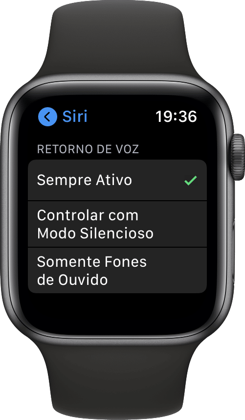 Ajustando o Retorno de Voz da Siri no Apple Watch
