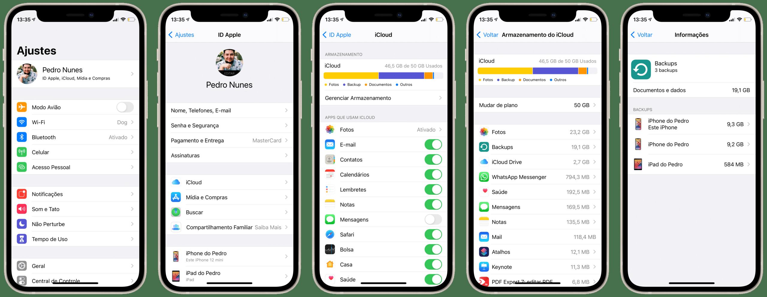Apagando backups do iCloud no iPhone