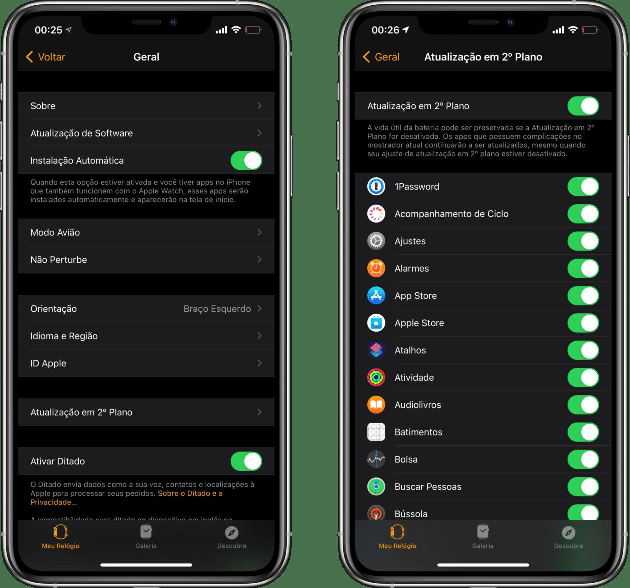 Desativando as atualizações em segundo plano no Apple Watch