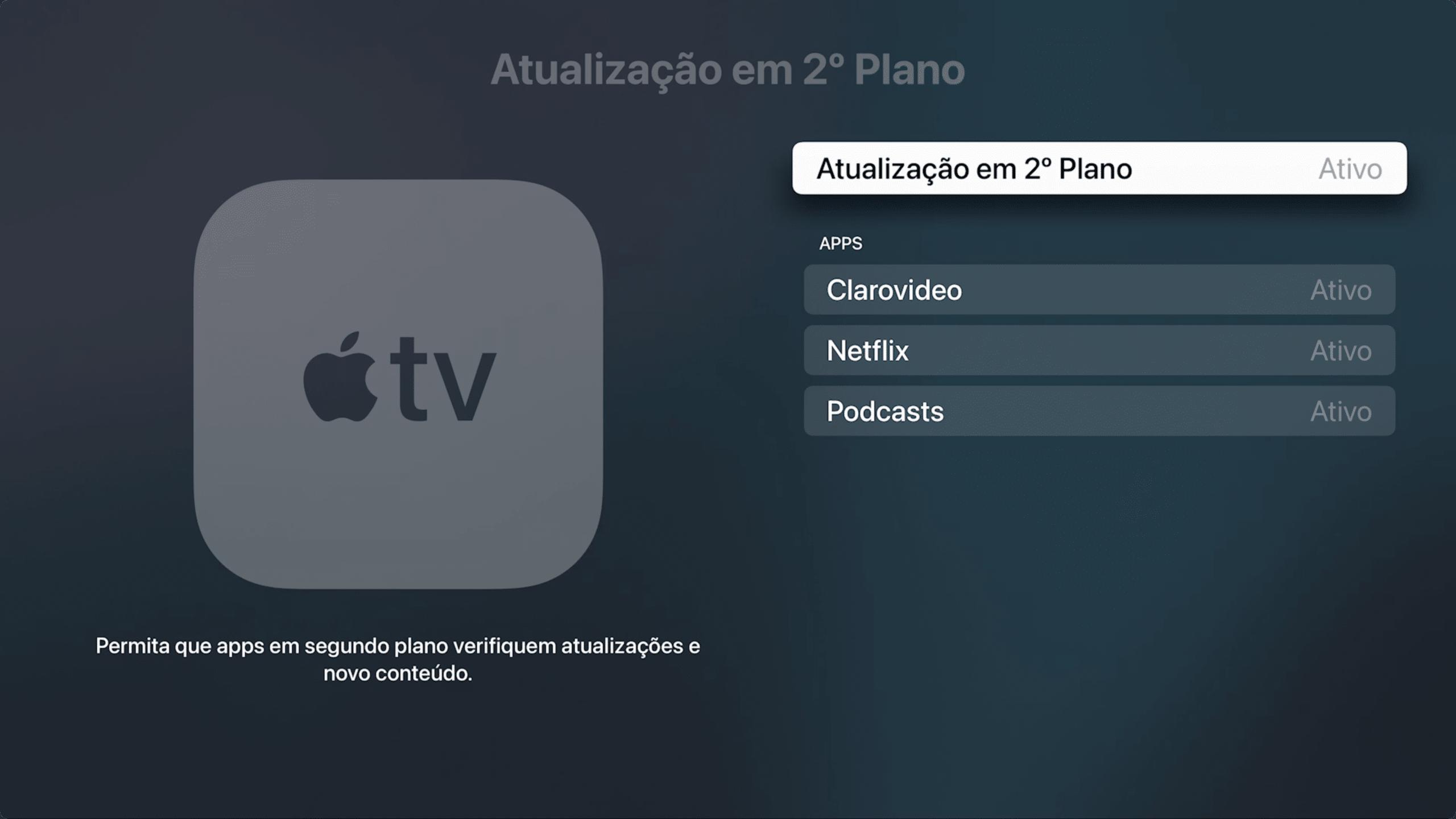 Desativando as atualizações em segundo plano na Apple TV