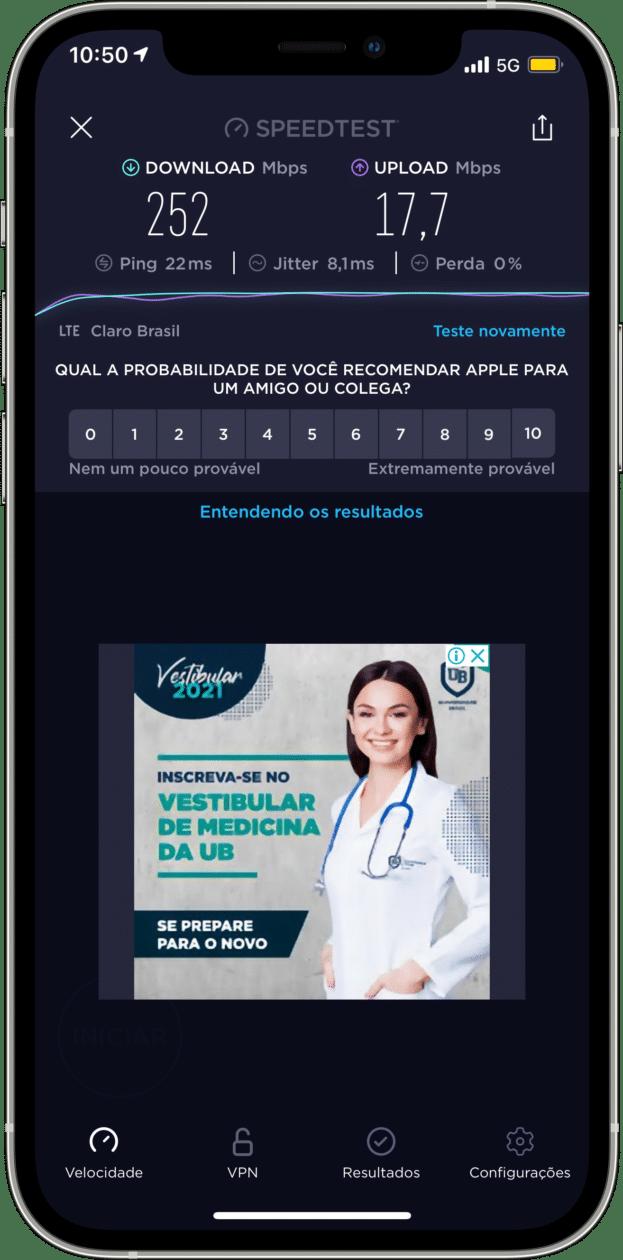iPhone 12 conectado a uma rede 5G no Brasil