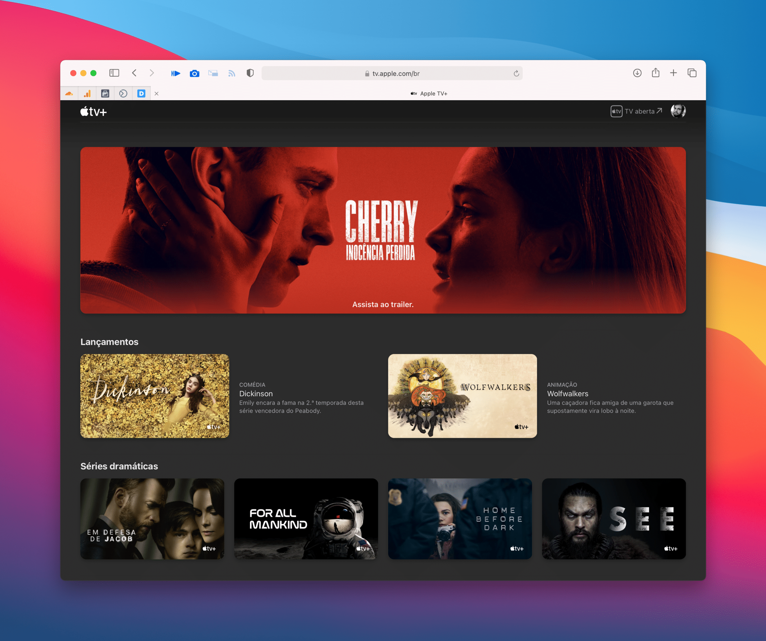 Novo design do Apple TV+ na web