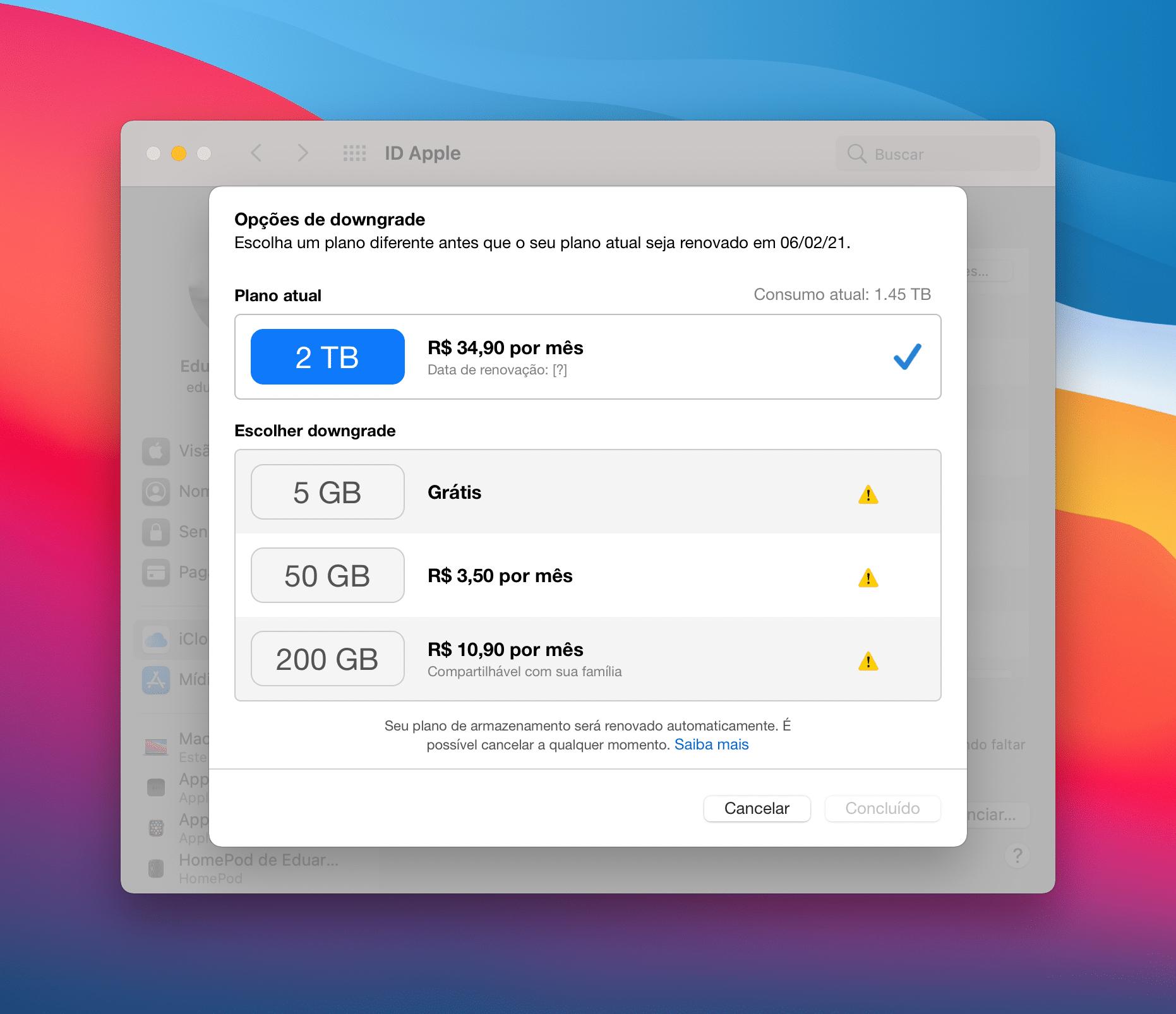 Downgrade de armazenamento no iCloud pelo iPhone