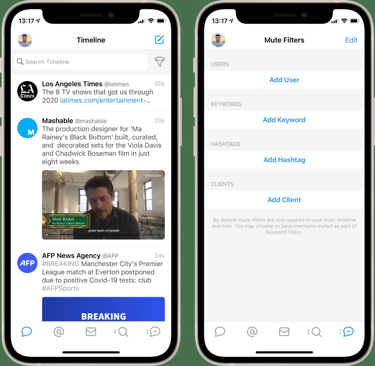Silenciando palavras no Tweetbot do iOS