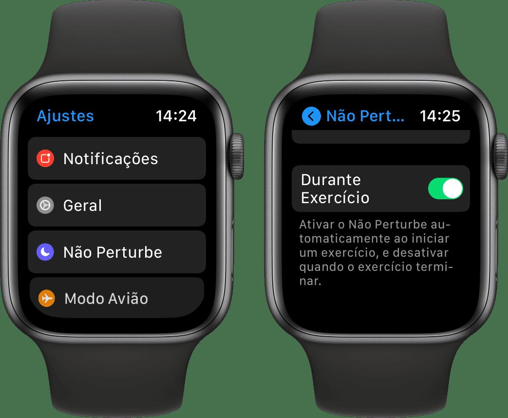 Ativando o Não Perturbe durante a prática de exercício no Apple Watch