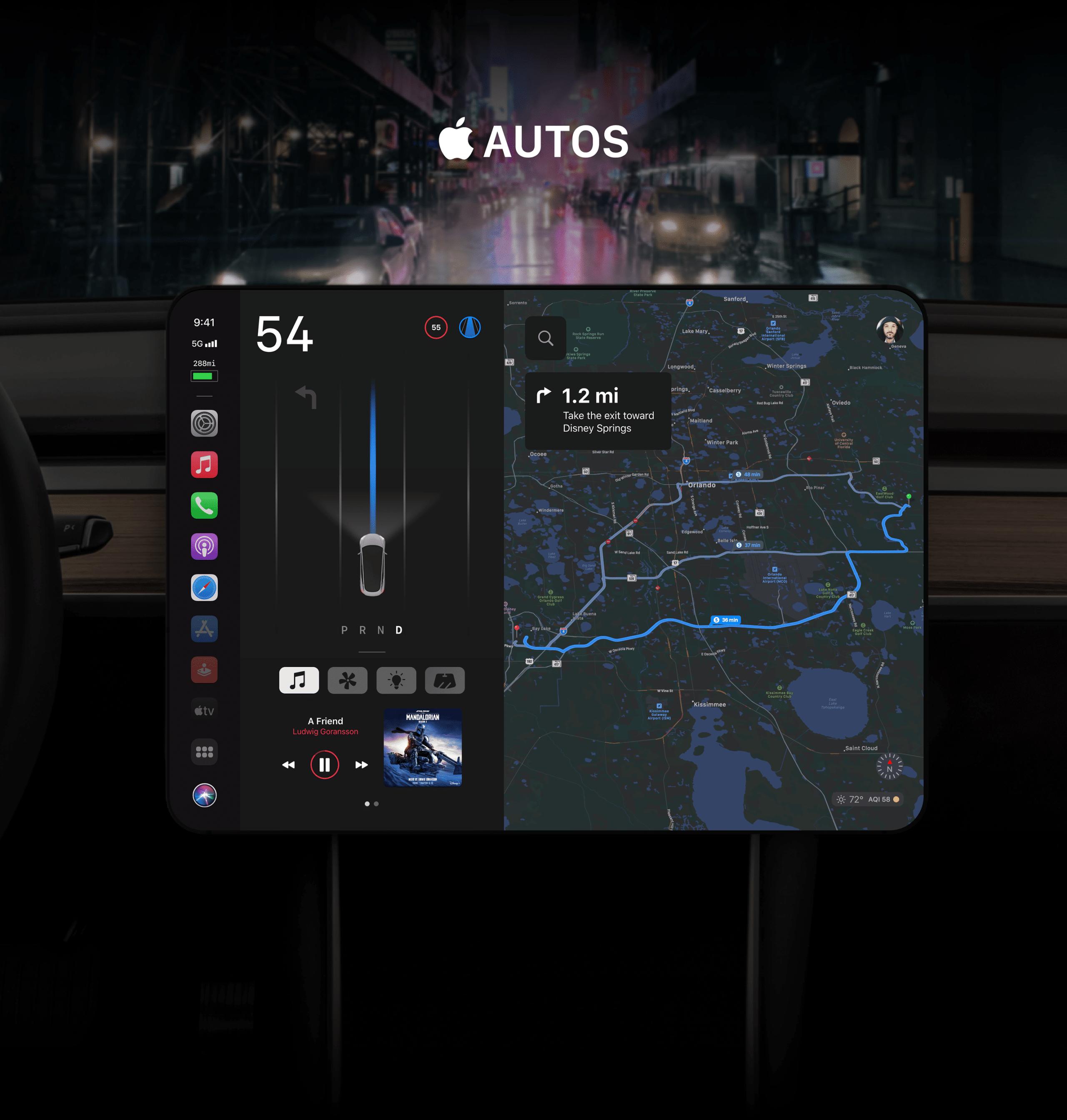 """Conceito de """"Apple Autos"""", sistema de controle para o """"Apple Car"""""""