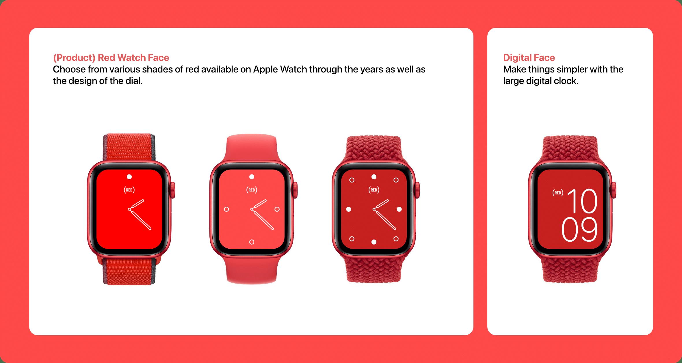 Conceito: mostradores PRODUCT(RED) no watchOS 8