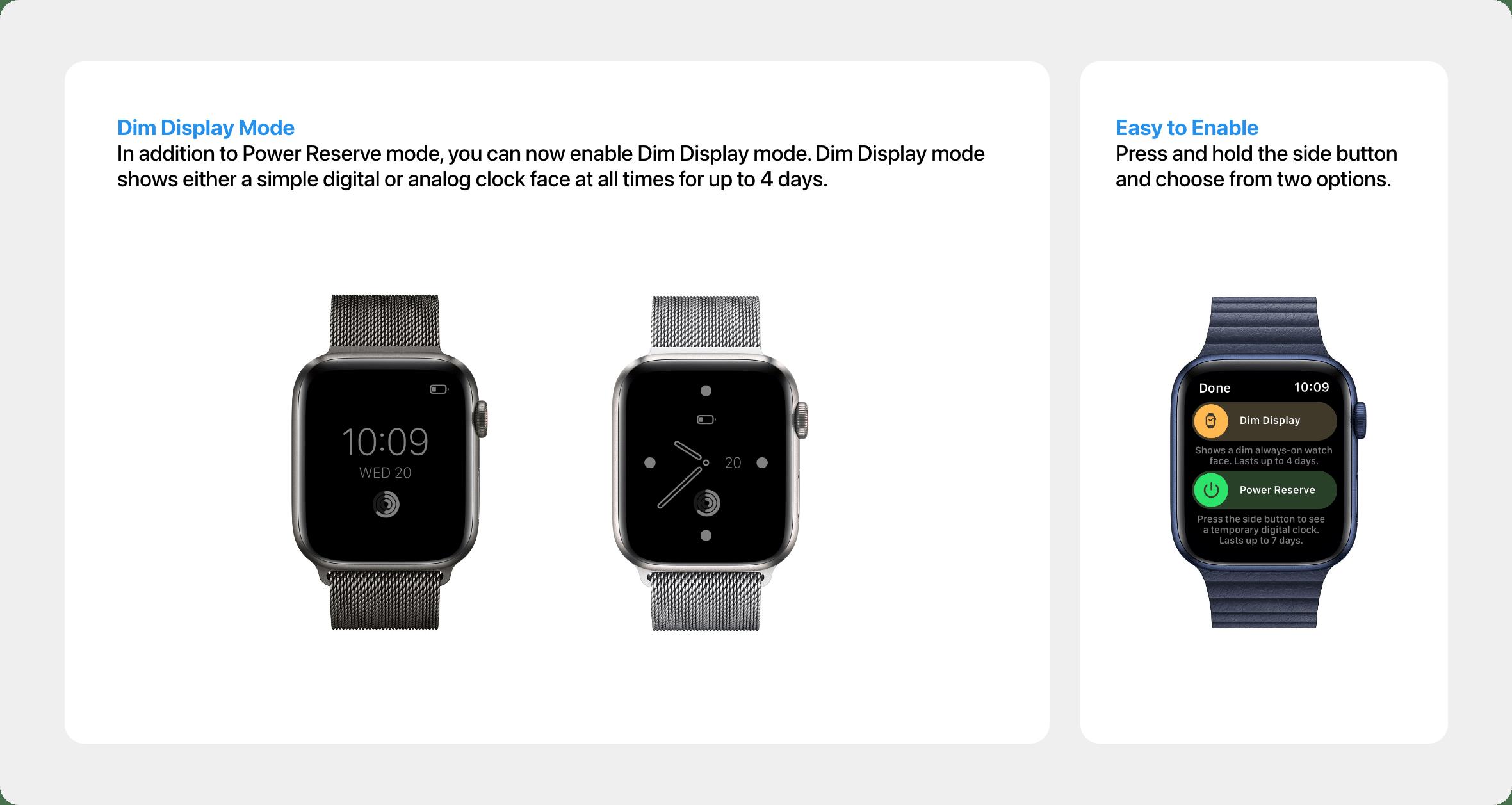 Conceito: modo de exibição escurecido no watchOS 8