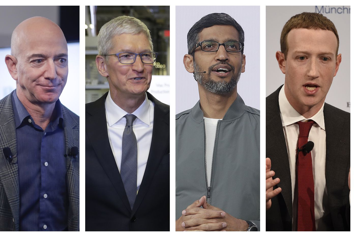 Jeff Bezos, Tim Cook, Sundar Pichai e Mark Zuckerberg