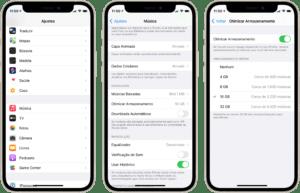 Otimizando o armazenamento do Apple Music no iPhone