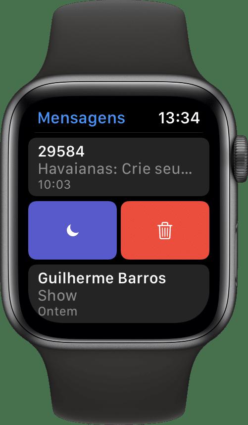 Silenciando mensagens no Apple Watch