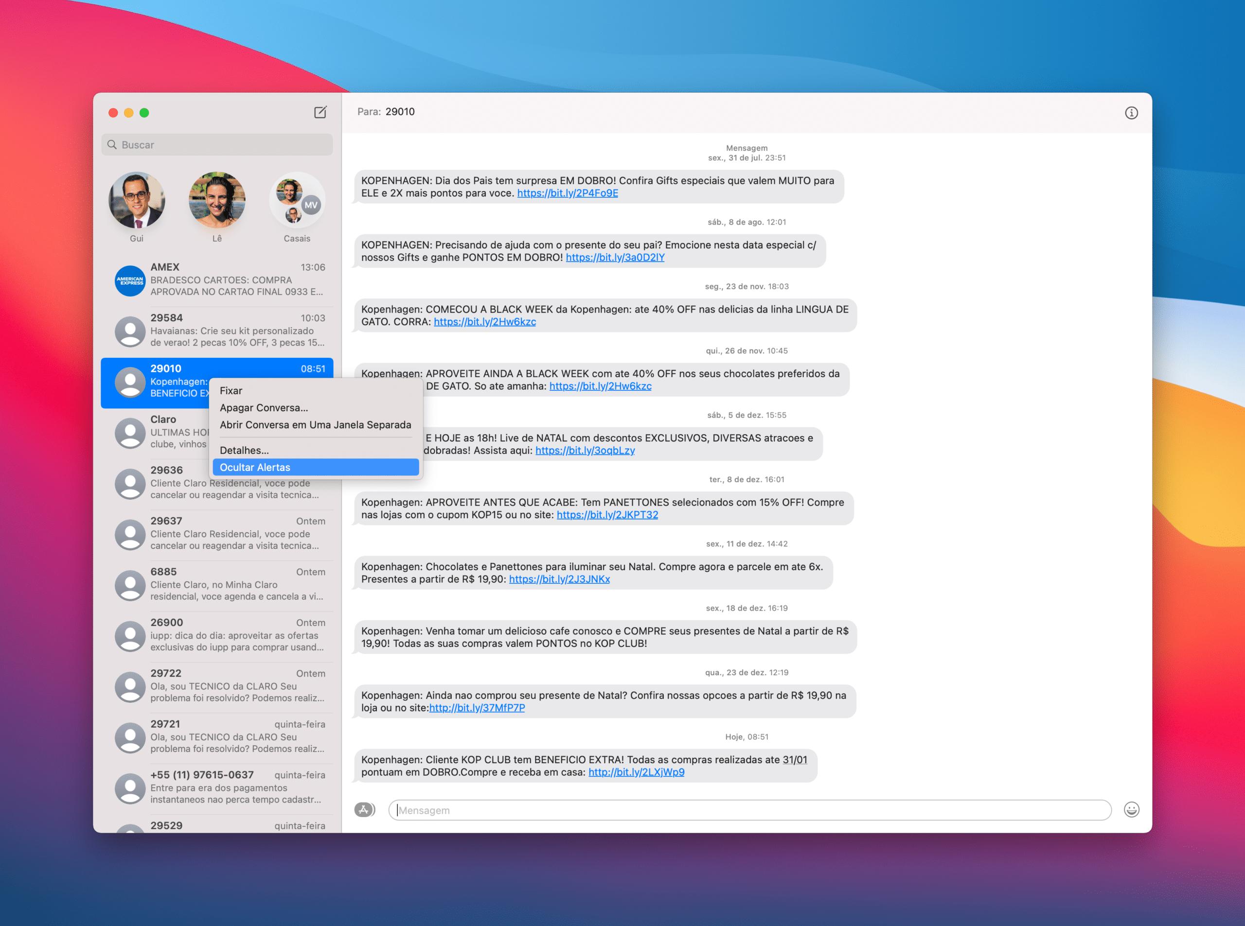 Silenciando mensagens no Mac