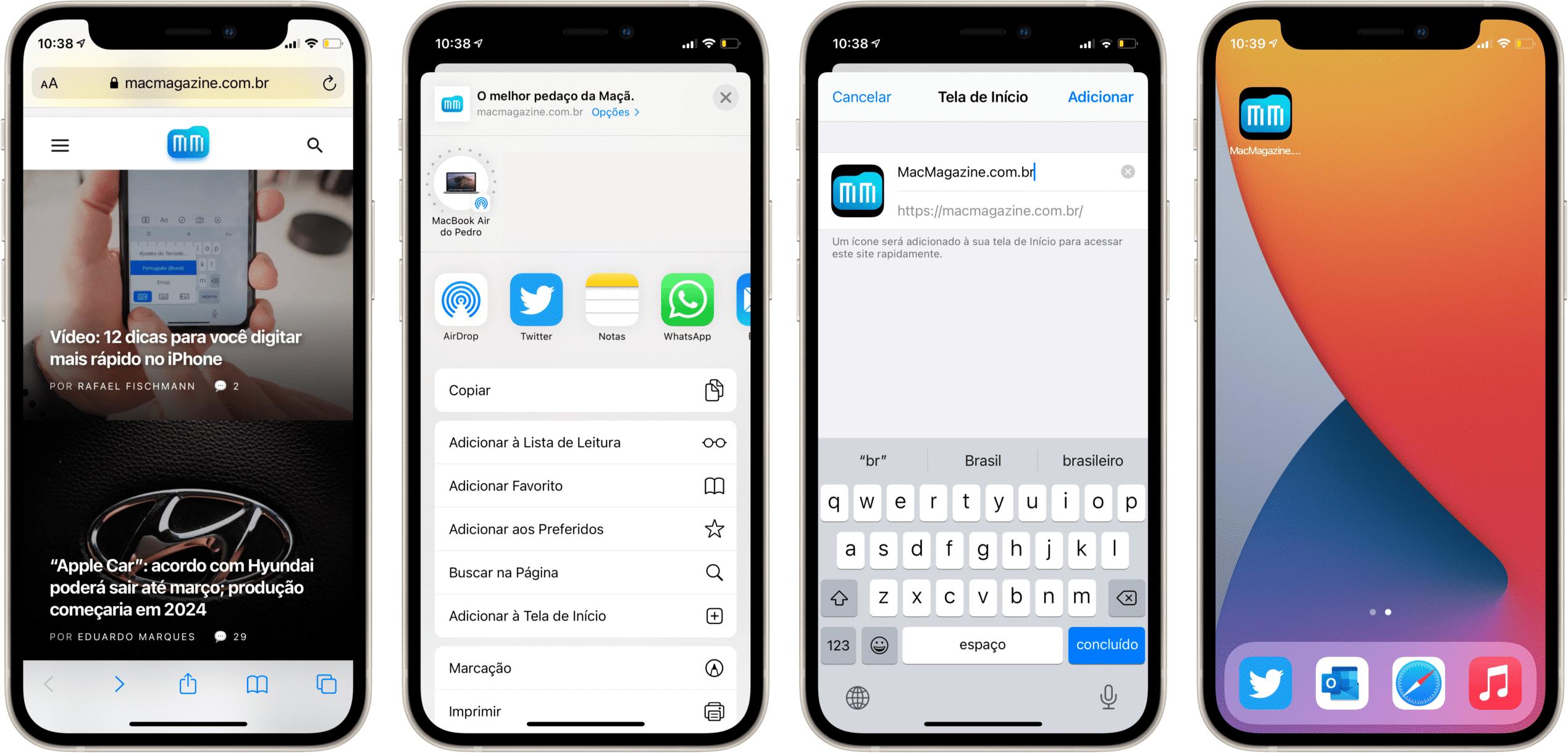 Adicionando sites na Tela de Início do iPhone