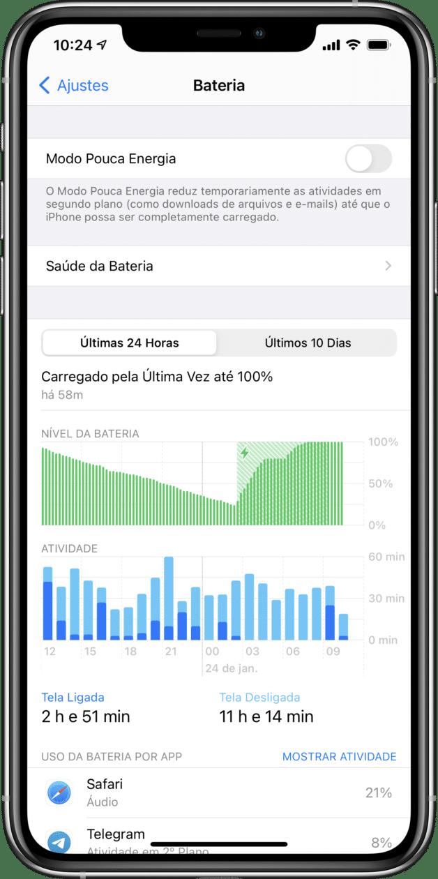 Ativando o Modo Pouca Energia no iPhone