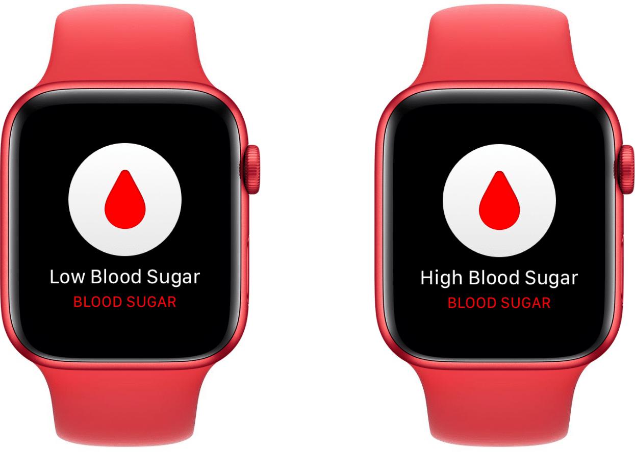 Conceito de medidor de glicose no sangue do Apple Watch